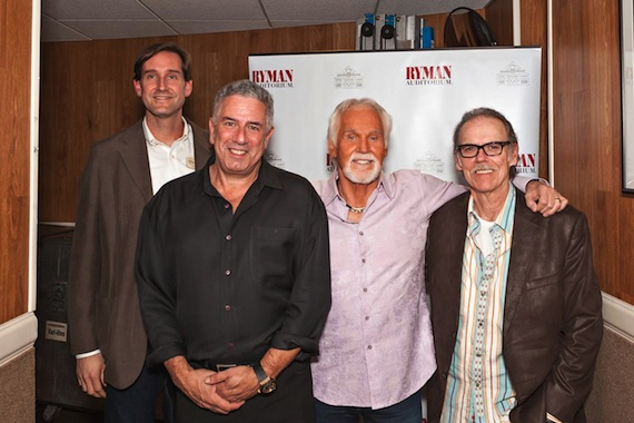 Pictured (L-R): Brian Wagner, Ryman Auditorium; Ken Levitan, Vector Management; Kenny Rogers; and John Hiatt. Photo credit: Randy Dorman