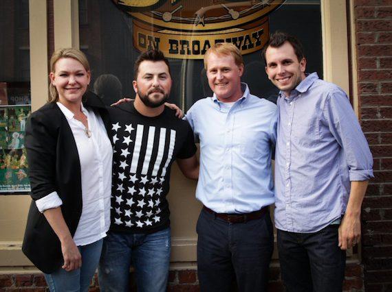 Pictured (L-R): Haley McLemore (377 Management), Tyler Farr, John Ozier (ole GM, Nashville Creative), and Ben Strain (ole Creative Director, Nashville).