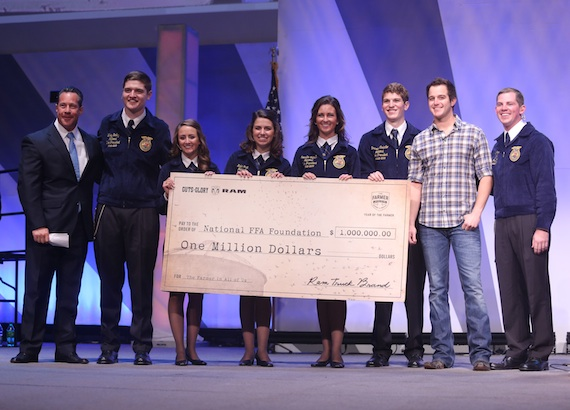 Pictured (L-R): Reid Bigland, President and CEO, Ram Truck Brand, Chrysler Group LLC; Wiley Bailey, 2012-13 Southern Region Vice President; Lindsey Anderson, 2012-13 Western Region Vice President; Kalie Hall, 2012-13 National FFA Secretary; Joenelle Futrell, 2012-13 Eastern Region Vice President; Brennan Costello, 2012-13 Central Region Vice President; Easton Corbin; Clay Sapp, 2012-13 National FFA President