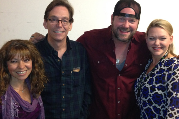 "Lee Brice celebrated the kick-off of his headlining ""The Otherside Tour"" with some radio and industry friends at the House of Blues in Boston, MA, on Oct. 10. Pictured (L-R): Ginny Rogers (WKLB) John Innamorato (Livenation), Brice and Haley McLemore"