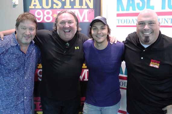 Charlie Worsham recently performed songs from his album Rubberband for KASE listeners. Pictured (L-R): Bob Picket (MD – KASE), Ray Vaughn (Southwest Regional – Warner Bros./W.A.R.), Charlie Worsham & JT Bosch (PD – KASE)