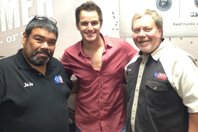 Easton Corbin (center) recently visited with Pharr, TX's JoJo Cerda (PD KTEX) and Patches (MD KTEX).