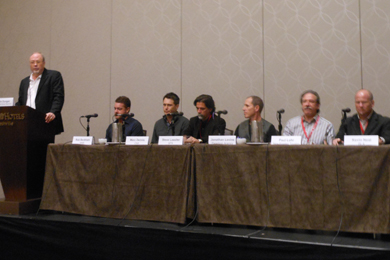 Pictured (L-R): Mike Dungan (UMG), Rob Beckham (WME), Marc Dennis (CAA), Steve Lassiter (APA), Jonathan Levine (Paradigm), Paul Lohr (New Frontier Touring), and Kevin Neal (BLA)