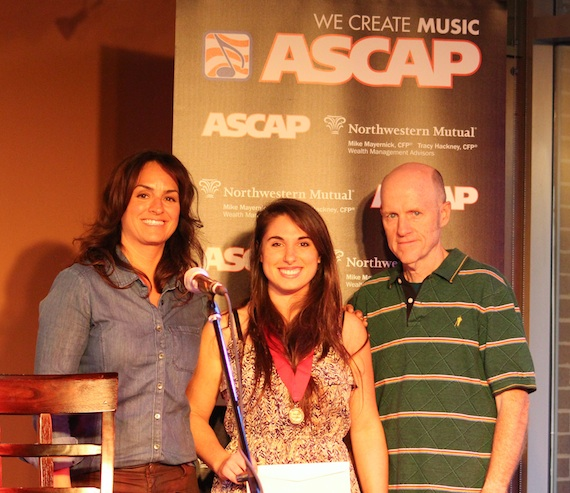 Pictured (L-R): LeAnn Phelan (ASCAP), Alysa Vanderheym (2013 ASCAP Foundation Songwriters Scholarship recipient), James Elliott (chair, Songwriting Program).