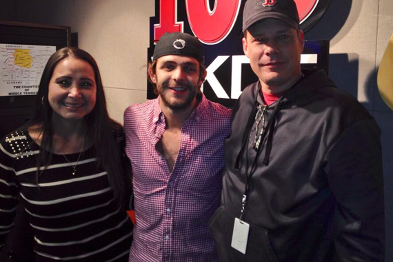 Thomas Rhett stopped by Nashville Mornings at 103 WKDF in Nashville prior to his It Goes Like This release on The Valory Music Co. Tues., Oct. 29. Pictured (L-R): Becca Walls, Rhett, Marty McFly.