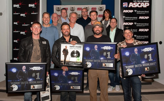 Pictured (Back row, L-R): BMI's Bradley Collins, producer Derek George, ASCAP's LeAnn Phelan; (Middle row, L-R): Sony/ATV Music Publishing's Tom Luteran, Broken Bow Records' Benny Brown, Combustion Music's Chris Farren, ASCAP's Ryan Beuschel, Broken Bow Records Jon Loba; (Front row, L-R): co-writer Ashley Gorley, Randy Houser, and co-writers Dallas Davidson and Kelley Lovelace. Photo credit: Steve Lowry