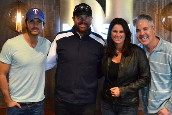 "Toby Keith lands 'on deck' this week with his latest Show Dog-Universal single, ""Shut Up and Hold On,"" after recently visiting with Blair Garner and the NASH FM America's Morning Show. Keith's new album Drinks After Work, became available this week. Pictured (L-R): Chuck Wicks, Keith, Terri Clark, Blair Garner"