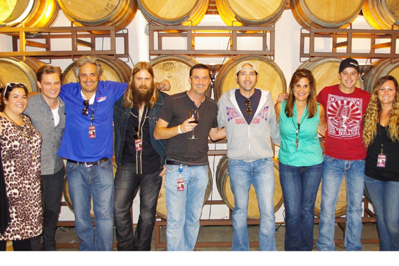 "Josh Thompson (Show Dog – Universal), UMG's Chris Stapleton (UMG) and Easton Corbin, and Frankie Ballard (WMN) joined KNCI Sacramento for their first ever, sold-out Country Uncorked wine and music event. Thompson's ""Cold Beer With Your Name On It"" claims our No.  24 spot, while Ballard's ""Helluva Life"" takes our No. 41 spot, while Stapleton lands at No. 36. Pictured (L-R): WAR's Raffaella Braun, Frankie Ballard, KNCI's Byron Kennedy, Chris Stapleton, KNCI's Matt Vieira, Josh Thompson, Show Dog-Universal Music's Lisa Owen, Easton Corbin and Mercury's Summer Harlow"