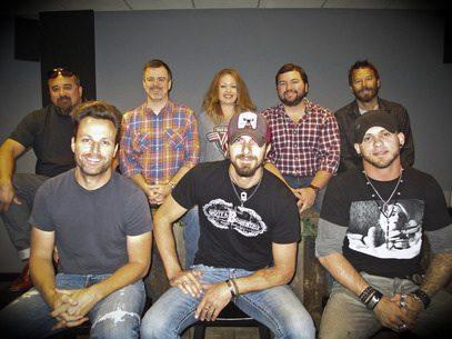Pictured (L-R): Rich Egan (Hard 8 Mgmt), Brian Davis, Brantley GilbertBack: Steve Tusman (Davis' Mgr), Ben Vaughn (Warner/Chappell), Alicia Pruitt (Warner/Chappell), Blain Rhodes (Warner/Chappell), Arlis Albritton (Davis' Mgr).