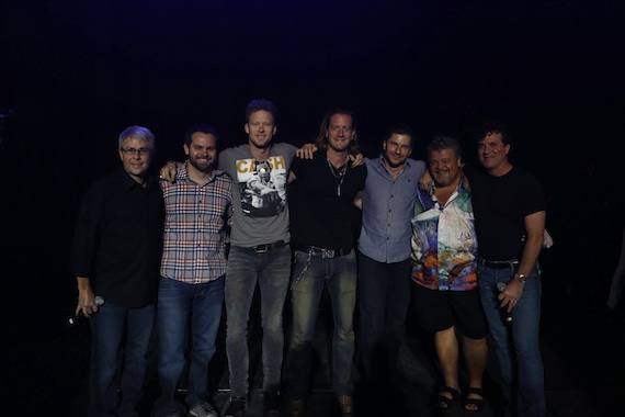 "Pictured (L-R): Republic Nashville President/Big Machine Label Group EVP Jimmy Harnen; Big Loud Mountain Partner Seth England; FGL's Brian Kelley and Tyler Hubbard; Big Loud Mountain Partner Kevin ""Chief"" Zaruk; Big Loud Mountain Partner Craig Wiseman; Big Machine Label Group President/CEO Scott Borchetta; Not pictured Big Loud Mountain Partner Joey Moi. Photo: Justin Mrusek"