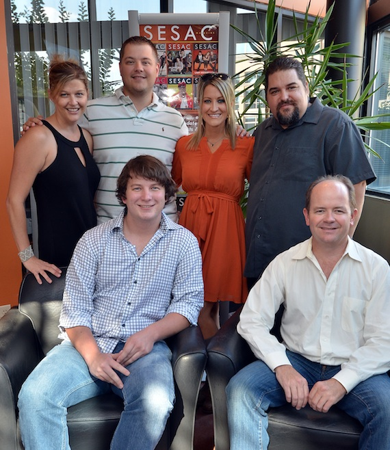 Back row (left to right): SESAC's Shannan Hatch, Curb Music Publishing's Colt Cameron and Tiffany Goss & SESAC's Tim Fink. Front row (left to right): Matt Alderman and Curb Music Publishing's Drew Alexander. Photo: Peyton Hoge