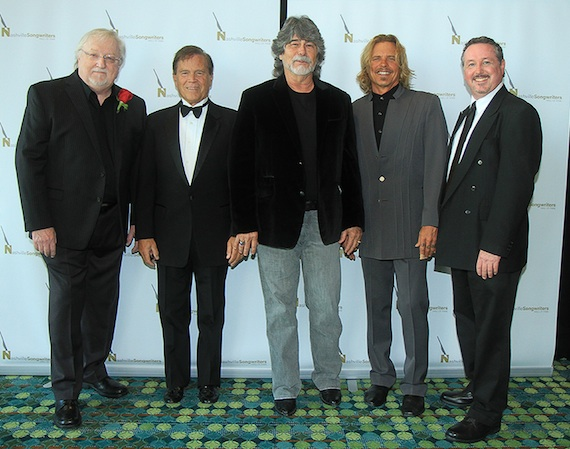 Pictured (L-R): Pat Alger, Layng Martine, Jr.,Randy Owen, Jeffrey Steele and Mark Ford. Photo: Bev Moser