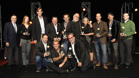 Winners of the 2013 SRO Awards. Pictured (Back row, L-R): Ed Hardy, Lisaann Dupont, Brian Wagner, Art Rich, Brad Baisley, Mark Metzger, Susan Pye, Jamie Cheek, Robby Emerson, Jay Cooper. (Front Row, L-R): Kevin Canady, Brian O'Connell, Rod Essig. Photo credit: Donn Jones / CMA
