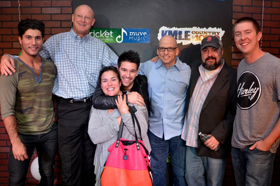 "Dan + Shay recently stopped by KMLE on their west coast promo tour in support of the debut single ""19 You + Me,"" which lands at No. 61 after only three weeks rising! Pictured (L-R): Dan Smyers, Tim Pohlman (GM), Shay Mooney, Raffaella Braun (WMN), Tim Richards (PD), Chris Palmer (WMN) & Drew Bland (MD)."
