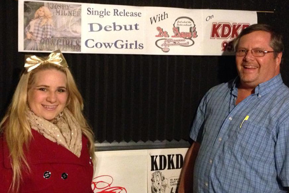 "MTS Management's Josey Milner (L) recently premiered her single, ""Cowgirls"" with Dr. Dave Young (R) on KDKD in Clinton, MO."