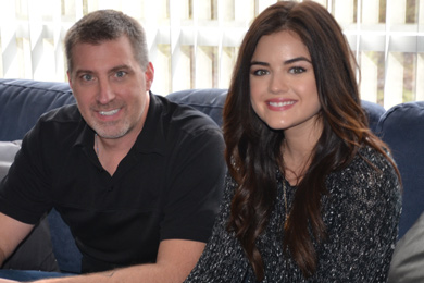 Rising country star and established actress Lucy Hale (R) stopped by WUBE to visit with PD Grover Collins (L) in Cincinnati on her recent radio promo tour.