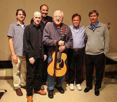 L-R: Drew Ramsey (Belmont Songwriting Instructor), James Elliott (Belmont Songwriting Chair), Mark D. Sanders, Pat Alger, Layng Martine Jr., Wesley Bulla (Curb College Dean)
