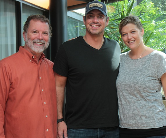 Pictured (L-R): SESAC's Dennis Lord, Durrette and SESAC's Shannan Hatch. Photo: Bev Moser