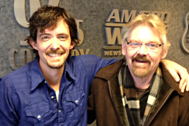 "BE Music's Zane Williams (L) continues his radio tour with a stop in Topeka, KS with WIBW's PD, Keith Montgomery (R), in promotion of his latest album's title-track, ""Overnight Success."""