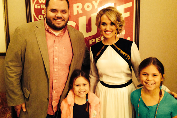 Arista Nashville's Carrie Underwood recently visited with WSIX Michael Bryan and his two daughters after a recent performance on the Grand Ole Opry at Nashville's Ryman Auditorium.