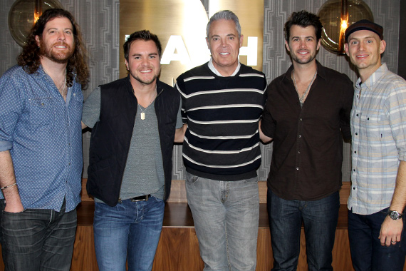 """The Eli Young Band recently stopped by NASH-FM in Nashville to discuss their upcoming Republic Nashville album and celebrate the success of the gold-certified """"Drunk Last Night."""" Pictured (L-R): EYB's James Young, Mike Eli, Blair Garner, EYB's Chris Thompson and Jon Jones. Photo: Sarah Montgomery"""