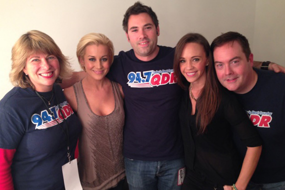 """Kellie Pickler, who recently spent time with WQDR staff after their Country For Kids Show benefitting the NC Children's Hospital, lands at No. 28 this week with her Black River single """"Little Bit Gypsy."""" Pictured (L-R): Lisa McKay, Kellie Pickler, JJ Herr, Black River's Megan Boardman & Cody Clark."""