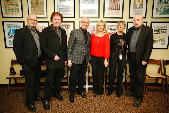 Pictured (L-R): Museum Writer/Editor Michael McCall, Randy Scruggs, Gibson Foundation Executive Director Terry Stewart, Kay Clary, Senior Vice President of Public Relations Liz Thiels and Gary Scruggs. Photo by Donn Jones