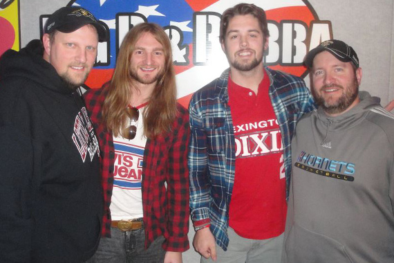eOne Entertainment's Sundy Best recently visited with Big D & Bubba since their Grand Ole Opry debut. Pictured (L-R): Big D, Kris Bentley, Nick Jamerson, Bubba. Picture: Dave Reynolds.