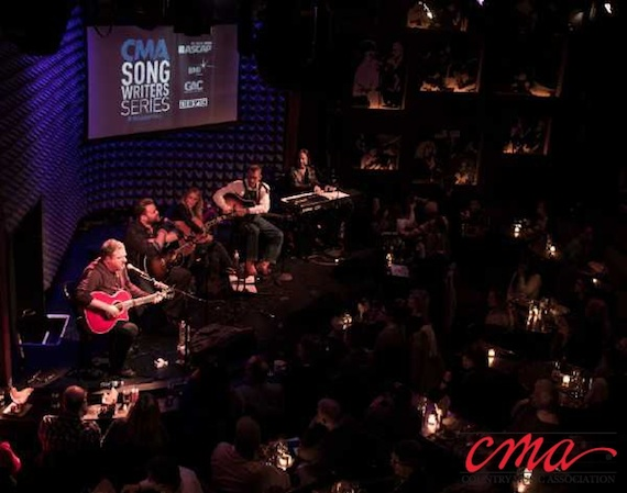 Pictured (L-R): Bob DiPiero, James Otto, Deana Carter, Rory Feek, and James Slater perform during the CMA Songwriters Series at Joe's Pub in New York City Wednesday night. Photo Credit: Kevin Yatarola / CMA