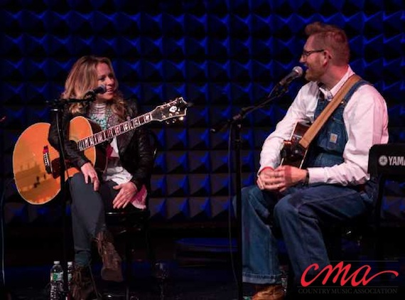Pictured (L-R): Deana Carter and Rory Feek perform during the CMA Songwriters Series at Joe's Pub in New York City Wednesday night. Photo Credit: Kevin Yatarola / CMA