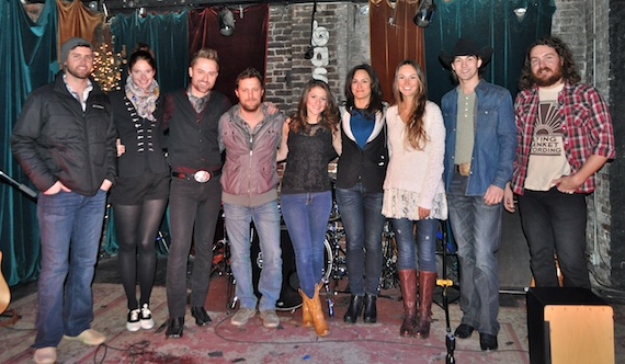Pictured (L-R): ASCAP's Ryan Beuschel, Cotton Wine's Femke and Brandon James, Ben Glover, Courtney Cole, ASCAP's LeAnn Phelan and Evyn Mustoe, William Michael Morgan and Hunter Johnson. Photo by ASCAP's Alison Toczylowski.
