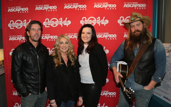 Pictured (L-R): CMA Board member Brett James, Lee Ann Womack, Brandy Clark, and Chris Stapleton backstage at the CMA Songwriters Series at the Sundance ASCAP Music Café at the Sundance Film Festival. Photo Credit: Erik Philbrook / ASCAP