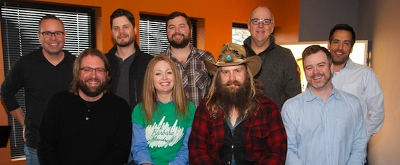 Pictured (Front row, L-R): Chip Petree (Petree Law),  Alicia Pruitt (Director, A&R, WCM),  Chris Stapleton, Ben Vaughn (EVP, A&R, WCM). (Back row, L-R): Steve Markland (VP, A&R, WCM), Matt Michiels (Production Manager, WCM), Blain Rhodes (Creative Coordinator, A&R, WCM), Phil May (VP & CM, WCM), Kris Wiatr (Wiatr & Associates)