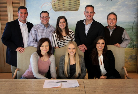 Pictured L-R are BMI's Mark Mason, Universal Music Publishing's Kent Earls, G Major Management's Samantha Thornton, and BMI's Mike O'Neill and Jody Williams; (front row, l-r): Gloria Martinez, Danielle Bradbery, and G Major Management's Virginia Davis. Photo: Drew Maynard