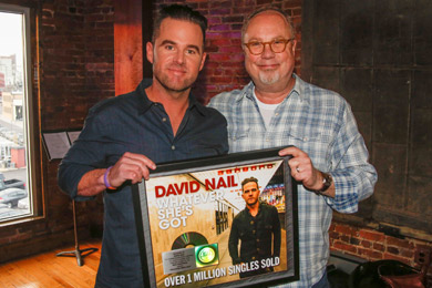 Pictured (L-R): David Nail, UMG Nashville Chairman & CEO, Mike Dungan. Photo: Ed Rode