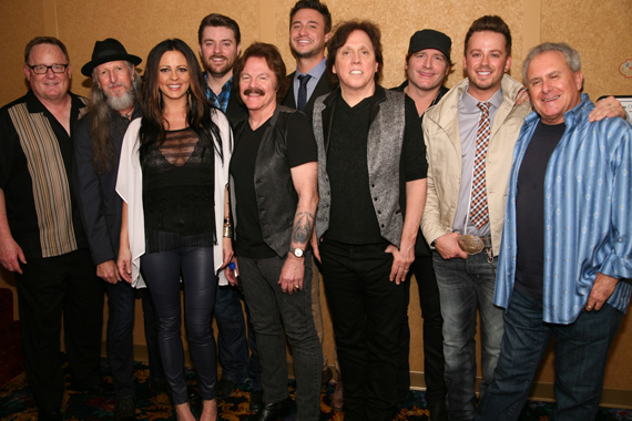(L-R):  Sony Music Nashville Chairman & CEO Gary Overton, the Doobie Brothers' Patrick Simmons, Sara Evans, Chris Young, Doobie Tom Johnston, Love and Theft's Eric Gunderson, Doobie John McFee, Jerrod Niemann, Love and Theft's Stephen Barker Liles, and Doobie Brothers Manager Bruce Cohen. Photo:  Larry Boothby