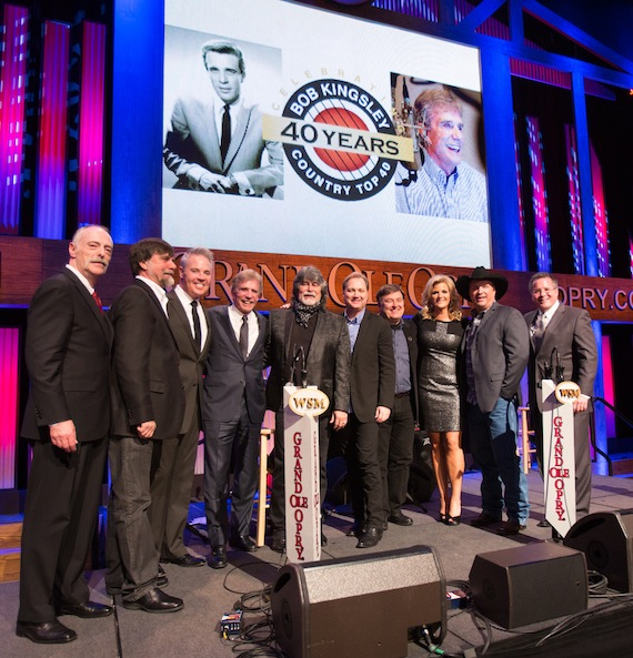 (L-R) Wade Jessen- Billboard, Teddy Gentry, Blair Garner-NASH/America's Morning Show, Bob Kingsley, Randy Owen, Steve Wariner, Lon Helton-Country Aircheck, Trisha Yearwood, Garth Brooks, Pete Fisher- VP & General Manager, Grand Ole Opry