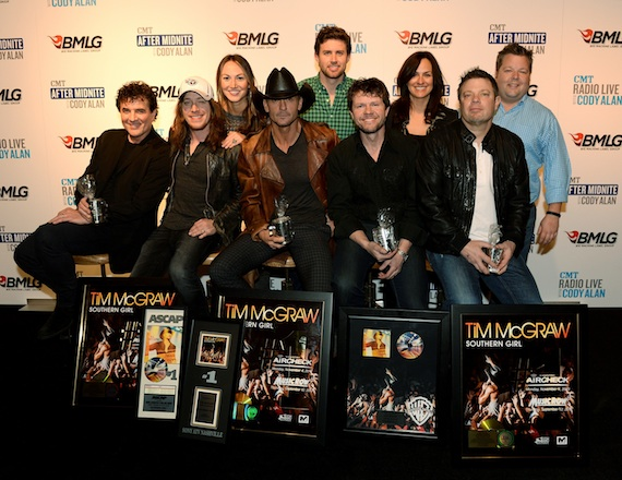 Pictured are (back row, L-R): ASCAP's Evyn Mustoe, Ryan Beuschel, and LeAnn Phelan, and BMI's Bradley Collins; (front row, L-R): Big Machine Label Group President & CEO Scott Borchetta, co-writer Jaren Johnston, Tim McGraw, and co-writers Lee Thomas Miller and Rodney Clawson. Photo by Rick Diamond