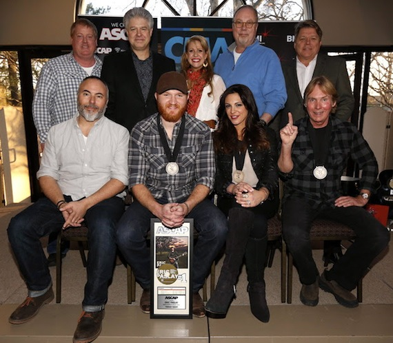 Marshall Altman, Eric Paslay, Rose Falcon and Rob Crosby, (back row): ASCAP's Mike Sistad, Cal IV Entertainment's Daniel Hill, The Song Factory's Jennifer Johnson, Universal Music Group Nashville's Mike Dungan and BMI's David Preston. Photo by Ed Rode.