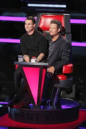 The bromance continues—Shelton and Levine watch the blind auditions. Photo: Trae Patton/NBC