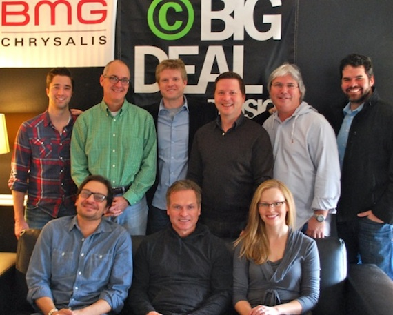 Seated: Pete Robinson (Big Deal), Tim James, Sara Knabe (BMG Chrysalis). Standing: Kevin Lane (BMG Chrysalis), Dale Bobo (Big Deal), Kos Weaver (BMG Chrysalis), John Allen (BMG Chrysalis), Chris Oglesby (BMG Chrysalis), Greg Gallo (Big Deal)