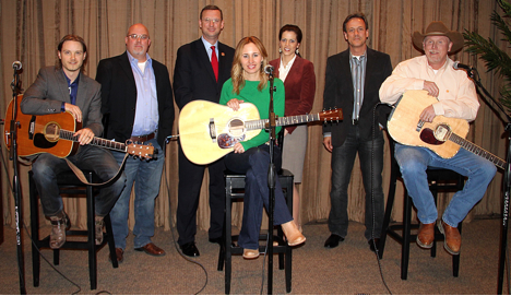 Pictured: Josh Kear (Songwriter), Marc Driskill (AIMP President/Sea Gayle Music), Congressman Doug Collins, Jessi Alexander (Songwriter), Darcy Anderson (Chief of Staff to Congressman Marsha Blackburn), John Barker (Copyright Society of the South Chairman of the Board/ClearBox Rights), Wynn Varble (Songwriter) / Photo Credit: Drew Maynard