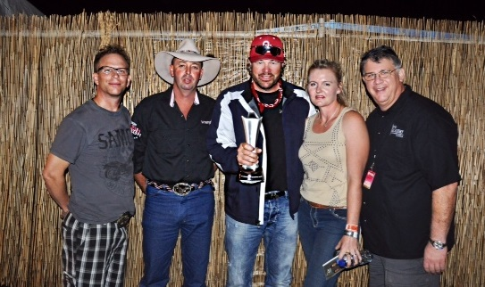 49th Academy of Country Music Awards trip winners are congratulated backstageat CMC Rocks the Hunter Festival . Photo (L-R): Tim Daley, CMC Group Program Manager; Glenn Tyrell (winner); Toby Keith; Bridgette Tyrell (winner); Bob Romeo, ACM CEO. Photo Courtesy of the Academy of Country Music