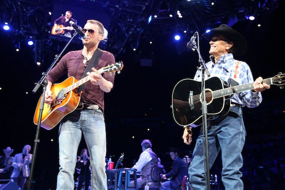 Eric Church joins George Strait onstage. Photo: Jill Trunnell
