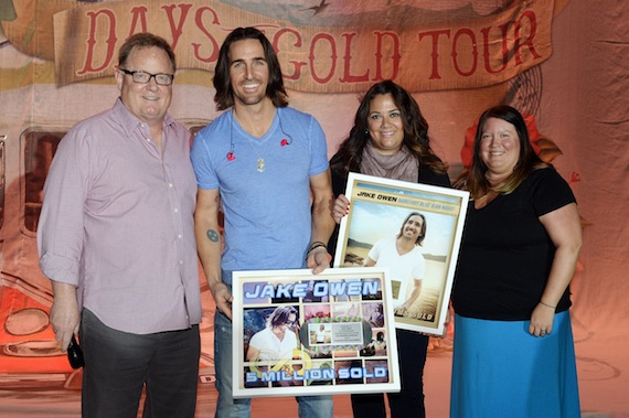 Pictured (L-R): Sony Music Nashville Chairman and CEO Gary Overton; Jake Owen; Sony Music Nashville's VP, Sales Caryl Healey; and Director, Digital Sales Alaina Vehec. Photo Credit: Rick Diamond