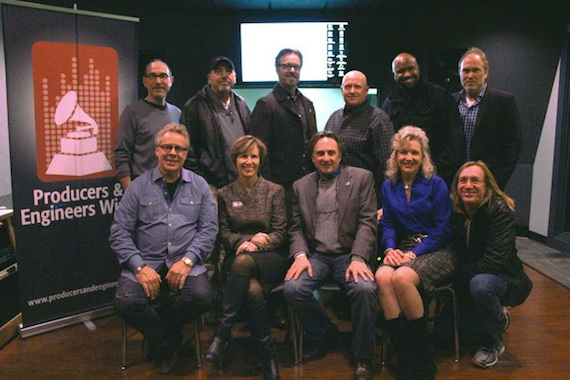 Pictured (L-R): Top Row: Sam Lorber, Instructional Designer, Pearl-Cohn; Nick Palladino, P&E Wing Sub-Committee member and Owner, NPALL Audio; Jeff Balding, The Recording Academy® Nashville Chapter President; Julian King, P&E Wing Nashville Chapter Committee Co-Chair; Shannon Sanders, P&E Wing Nashville Chapter Committee Co-Chair; and Ben Fowler, P&E Wing Sub-Committee member and producer/engineer. Bottom Row: Joseph Wagoner, Product Manager, AKG; Laurie Schell, Music Makes Us, Metro Nashville Public Schools; Peter Chaikin, Senior Manager Recording and Broadcast Marketing, JBL Professional; Lisa Harless, The Recording Academy Nashville Chapter Secretary; and Chuck Ainlay, P&E Wing Committee Chairman and producer/engineer. Photo: The Recording Academy®/Clyne Media, Inc. © 2014