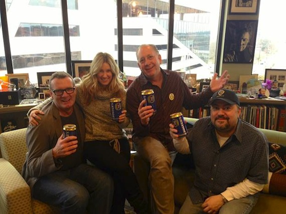 """L to R: Peter Strickland (EVP & GM, WMN), Cris Lacy (VP A&R, WMN), John Esposito (President & CEO, WMN), Chris Palmer (VP Promotion, WAR) Vice President of A&R, Cris Lacy, celebrated her second No. 1 in just three weeks with Frankie Ballard's """"Helluva Life"""" which tops the Mediabase Country Chart and Billboard Country Chart this week. Last month, her other artist, Cole Swindell, celebrated his debut No. 1 with """"Chillin' It,"""" which is nearing 1 million singles sold. In addition, Vice President of Promotion, Chris Palmer, also celebrated the success as this marks Ballard's first No. 1 with over 400,000 digital copies sold."""