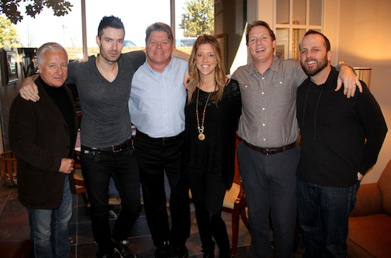 Pictured (L-R): Rough Hollow Entertainment's Doug Nichols, Red Bow Records artist David Fanning, BMI's David Preston, Penny Everhard and Clay Bradley, and Rough Hollow Entertainment's Chris Alderman. Photo: Drew Maynard