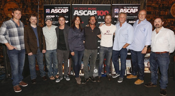 Pictured (l-r): ASCAP's Ryan Beuschel, Warner/Chappell Music's Ben Vaughn, Cornman Music's Nate Lowery, producer Ross Copperman, ASCAP's LeAnn Phelan, Brett James, Dierks Bentley, Combustion Music's Chris Farren, Universal Music Group's Mike Dungan and producer Arturo Buenahora. Photo by Ed Rode.