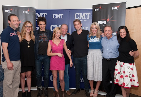 Pictured (L-R): Craig Shelburne, CMT.com senior editor; Penny Everhard, BMI associate director of writer/publisher relations; Marc Scibilia; Amanda Shires; Martin Clayton, CMT.com vice president; Steve McMorran (Satellite); Ashley Monroe; Jody Williams, BMI vice president of writer/publisher relations; Leslie Fram, CMT senior vice president of music strategy